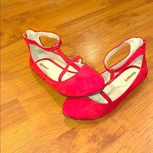 Girls sz 2 Faux-Suede T-Strap Ballet Flats